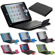 Leather Case Stand Cover With Removable Bluetooth Keyboard For Apple iPad Mini