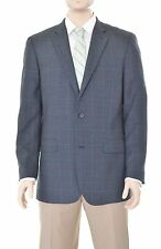 Tasso Elba Classic Fit Gray Windowpane Two Button Wool  Blazer Sportcoat