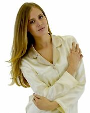 100% Mulberry Silk Pajamas Set - Impeccably Tailored - Shimmering Ivory/Taupe