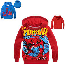 Free Shipping Kids Boy Spiderman Long Sleeve Jacket Coat Outfit Clothes Red Blue
