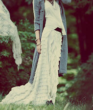 ☮ FREE PEOPLE White Lydia Ruffle Maxi Skirt ☮