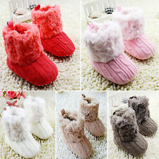 Newborn to 18M Baby Crochet/Knit Fleece Boots Girl Toddler Snow Booties Shoes
