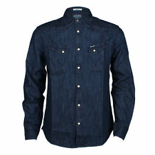 MENS WRANGLER WESTERN DENIM SHIRT STYLE CITY - DARK INDIGO BLUE