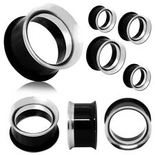 Set or Single Size Acrylic Steel Flesh Tunnel Piercing Taper Double Flared Plug