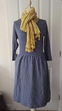 Boden Janie beach holiday striped jersey dress zips two pockets size uk12-16