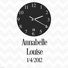 Clock face personalised custom date & names vinyl wall sticker decal family
