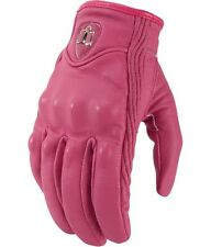 NEW WOMENS PINK LEATHER PURSUIT MOTORCYCLE GLOVE FREE SHIP SPORT CRUISER