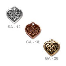 TierraCast Celtic Heart Charm - plated pewter - choose from 3 finishes