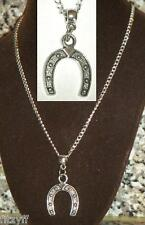 18or 24 Inch Necklace & Lucky Horseshoe Pendant Horse Shoe Charm Gift