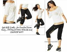 ZUMBA FITNESS 2Pc.Set! GALACTIC GOLD Comfy Capris & Top Rare fr.Convention U.K.