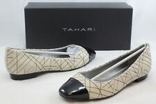TAHARI Women's Imani Flats - Warm White/Black Patent - Multi SZ NIB - MSRP $89
