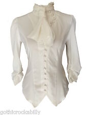 Ivory White Gothic Steampunk Ruffle Vamp Renaissance Button Blouse Top 14 DEFECT