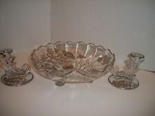 ANTIQUE FOSTORIA GLASS CONSOLE SET BOWL & CANDLE HOLDERS Silver Overlay POPPIES