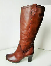 Tamaris leather boots XL Wide shaft Nutmeg 36-42 leather boots brown high heel