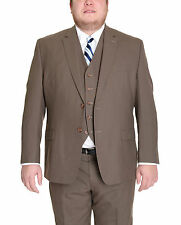 Ralph Lauren Mens Solid Olive Green Two Button Three Piece Wool Suit