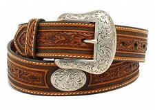 Nocona Western Mens Belt Leather Floral Tooled Oval Concho Brown N2510208