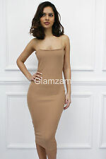 Glamzam New Womens Ladies Strappy Sleeveless Midi Stretch Bodycon Camel Dress