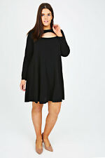 Plus Black Swing Dress With Cut Out Detail 14-32