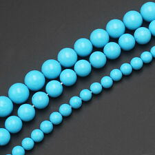 6,8,10mm Blue Turquoise Round stone Beads 15inch
