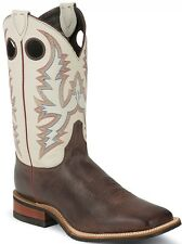 "Justin Men's 11"" Arizona Cafe Burnished Brown Bent Rail Boots w/ White Top BR357"
