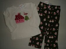 Gymboree COZY OWL Green Knit Pant Ivory House Tee Shirt Outfit Lot NWT 12 18 24