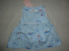 Gymboree VENICE SWEETIE Ciao Kitty Blue Boat Cat Print Dress & Bloomer Set NWT