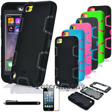 For iPod Touch 5th & 6th Gen - BLACK Hybrid Armor High Impact Skin Case Cover