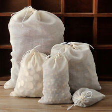 10 / 50 / 100 Pack Natural Cotton Muslin Drawstring Bags Soap Herbs Tea 3x4 8x10