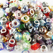 Faceted Crystal Glass 14MM Silver Big Hole Spacer Charm Loose Beads Fit Bracelet