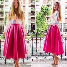 New Fashion Women Swing High Waist Flared Skater Pleated A Line Midi Skirt TXGT
