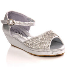 UNZE GIRLS 'NIAS' DECORATED WEDGE CUTE PUMPS SIZE UK 25-35 SILVER