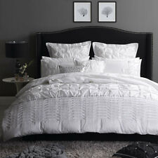 Platinum Logan and Mason FRANCESCA WHITE Duvet Doona Quilt Cover Set 3 Sizes