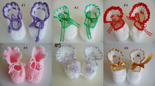 New Hand Crocheted Baby Girls Booties with Ribbon Flower For 0-3 M