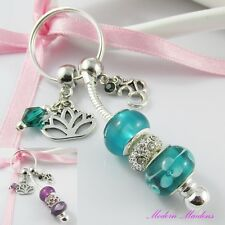 European Bead Lotus Flower Aum Charm Keychain Key Ring Select Colour
