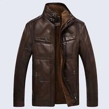 Men's faux leather Jackets Stand Collar Coats Winter Warm Overcoat Outwear M-4XL
