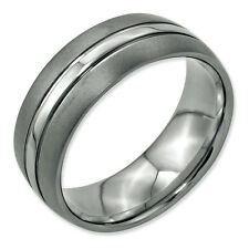 Stainless Steel Grooved 8mm Brushed and Polished Band
