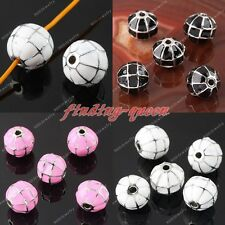 5pc Enamel Net Round Spacer Loose Bead Charms For Bracelet Necklace Findings DIY
