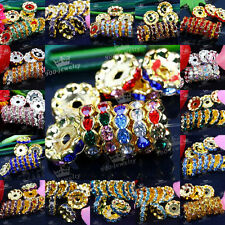 10x Silver/Gold Plated Rondelle Crystal Rhinestone Beads Spacer 12mm Finding DIY