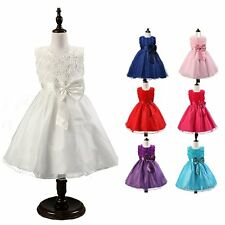 Girls Kids Elegant Rose Bowknot Dress Bridesmaid Princess Cocktail Formal Party