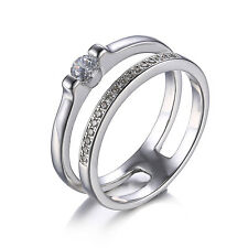 Classic Wedding Engagement Bridal Rings Sets Cubic Zirconia 925 Sterling Silver