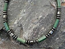 Men's Green Jade Magnetic Hematite Bracelet Anklet Necklace 1 Row