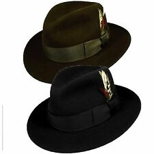 100%wool made inUSA Godfather City hat satin lined western cowboy Mobster Black