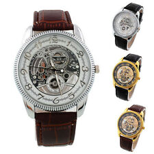 Mens Luxury Leather Band Sport Skeleton Design Wrist Watch Analog Quartz Watches