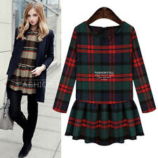 Spring Autumn Fashion Womens Long Sleeve Woolen Grid Big Size Pleated Mini Dress