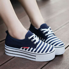 2016 Summer Fashion Womens Canvas High Platform Lace Up Tennis Shoes Sneakers