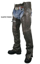 MENS PREMIUM LEATHER RETRO BROWN BIKER MOTORCYCLE COMFORT FIT CHAPS RETAIL $239