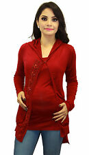 Red Maternity Blouse Long Sleeve Two Piece Pregnancy Hoodie   S M L XL