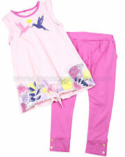 Deux par Deux Girls' Top and Jersey Pants Set Hum Sweet Hum, Sizes 18M-6