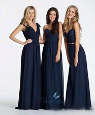 Hot Navy Blue Chiffon Formal Evening Dresses Party Prom Gown Bridesmaid Dresses