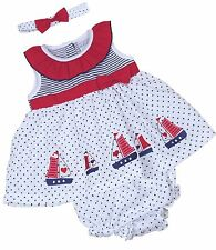 BABYPREM Baby Girls Clothes NAUTICAL 3 Piece Dress Knickers Headband Set Outfit
